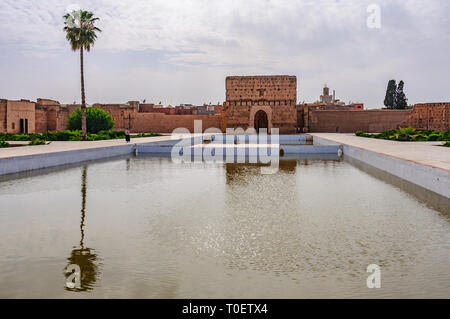 Reflection in the pool in  Badi Palace in the Medina of Marrakech, Morocco - Stock Image