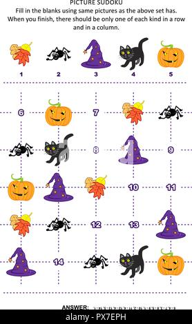 Halloween festival themed picture sudoku puzzle 5x5 (one block) with pumpkin, black cat, spider, autumn leaves, witch's hat. Answer included. - Stock Image