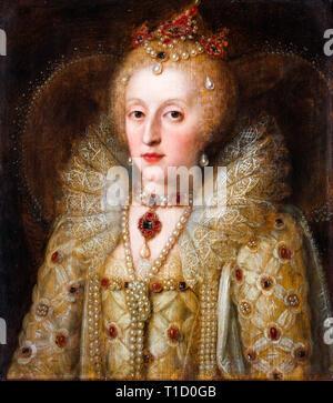 Queen Elizabeth I, portrait, anonymous, c. 1550 - 1599 - Stock Image