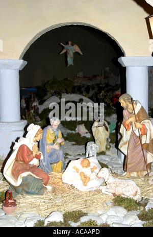 Spectacular nativity scene in the historic Church of St Nicholas in Tolentino ,'le Marche', Italy - Stock Image