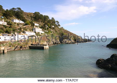 View from the Polperro harbour wall in Cornwall, UK - Stock Image