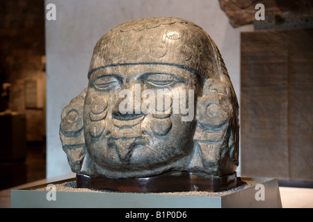 Head of Coyolxauhqui, National Museum of Anthropology, Chapultepec Park, Mexico City - Stock Image