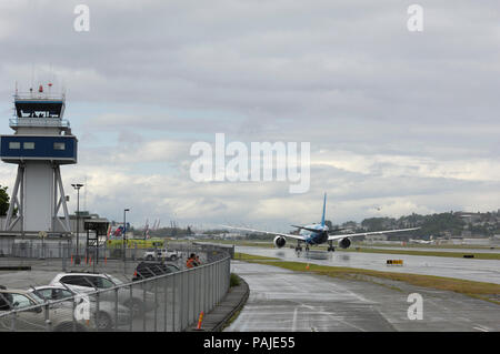 the first Boeing 787-8 Dreamliner prototype taxiing with air-traffic control-tower - Stock Image