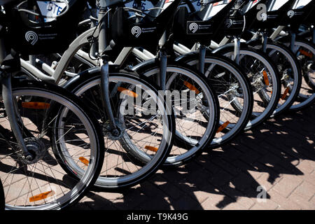 Bicycle sharing network of Velobike company rental point in the centre Moscow center, Russia - Stock Image