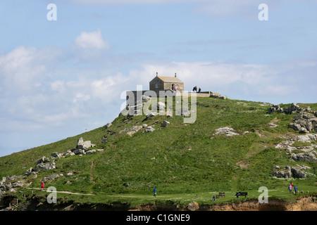 Chapel of St Nicholas Overlooking Porthmeor Beach, St Ives, Cornwall, UK. - Stock Image