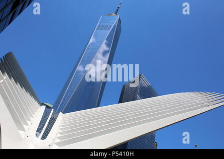 NEW YORK, NY - JUNE 28: Calatrava's Oculus exterior steel rib structure superimposed over WTC1 building in Financial District, Manhattan on JUNE 28th, - Stock Image