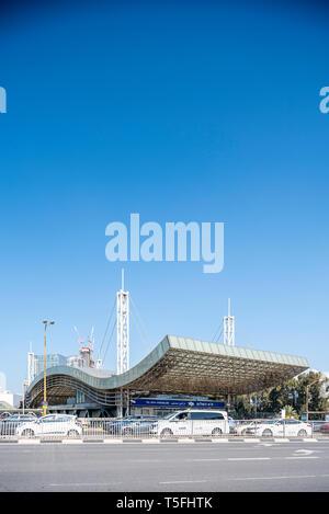 Israel, Tel Aviv-Yafo - 23 February 2019: Tel Aviv HaShalom railway station - Stock Image