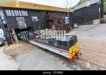 InterCity locomotive and driver, Hastings Miniature InterCity Railway. Hastings, East Sussex, England , UK - Stock Image