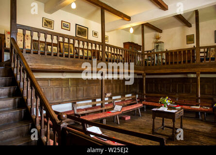 UK, Cumbria, Sedbergh, Brigflatts, Religious Society of Friends, Quaker Meeting House interior - Stock Image