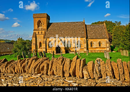 The small parish church of St Barnabus in the Cotswold village of Snowshill on a late summer afternoon - Stock Image