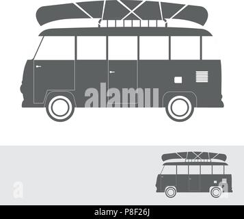 Monochrome bus for travel with canoe, vector illustration - Stock Image