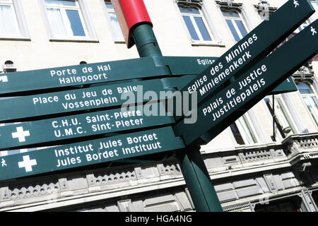Tourist direction sign in Brussels, Belgium. - Stock Image