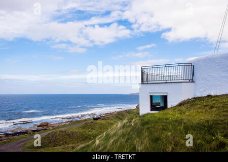 Visitor Centre in former coastguard lookout overlooking the Moray Firth coast. Burghead, Moray, Scotland, UK, Britain - Stock Image