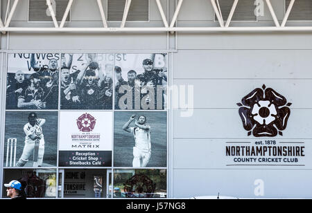 Northamptonshire County Cricket ground emblem on the wall of atheir stadium in the town of Northampton, England. - Stock Image