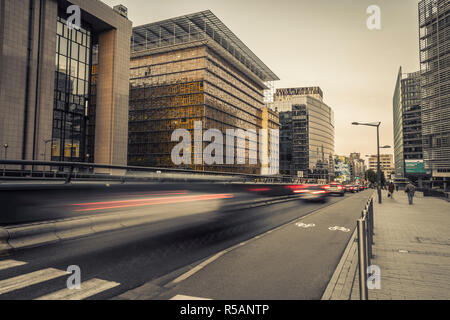 Traffic in front of the European building in Bruxelles - Stock Image