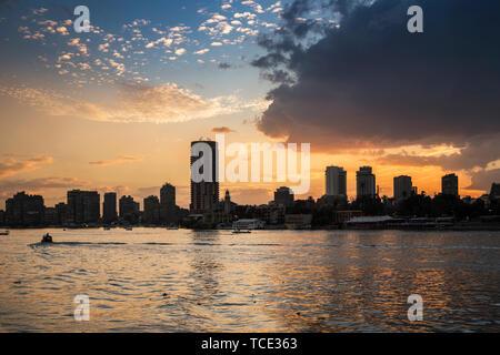 City skyline at sunset, Cairo, Egypt - Stock Image