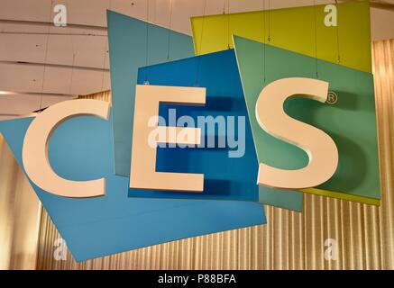 CES (Consumer Electronics Show) huge, hanging logo CES sign in the Sands Convention Center in Las Vegas, NV, USA - Stock Image