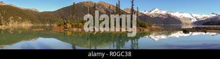 Wide Panoramic Scenic Landscape View of Garibaldi Lake and Distant Coast Mountains British Columbia Canada - Stock Image