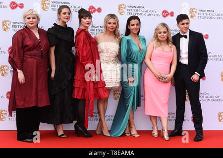 LONDON, UK. May 12, 2019: Derry Girls cast (Siobhan McSweeney, Louisa Harland, Kathy Kiera Clarke, Saoirse-Monica Jackson, Jamie-Lee O'Donnell, Nicola Coughlan & Dylan Llewellyn) arriving for the BAFTA TV Awards 2019 at the Royal Festival Hall, London. Picture: Steve Vas/Featureflash - Stock Image