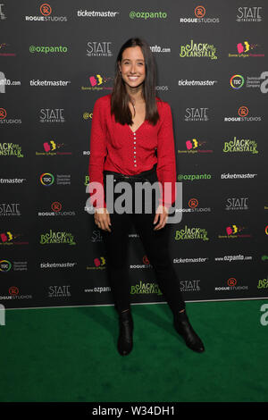 Sydney, Australia. 12th July 2019. Jack and the Beanstalk Giant 3D musical spectacular red carpet at the State Theatre. Pictured: Teigan Nash. Credit: Richard Milnes/Alamy Live News - Stock Image