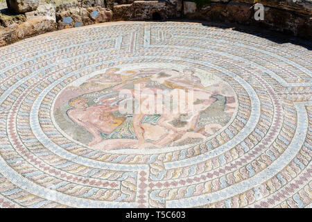 Theseus and the Minotaur mosaic in the 'House of Theseus', Paphos Archaeological Park, Paphos, Cyprus - Stock Image