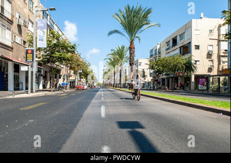 Israel, Tel Aviv - 19 September 2018: Day of Yom kippur, the holiest day of the year in Judaism. On this day Israelis refrain of using the car. The em - Stock Image