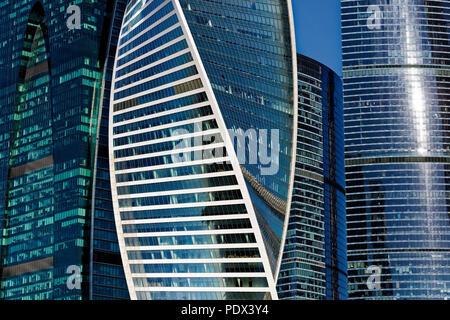 "Close up of high-rise buildings at Moscow International Business Centre (MIBC), also known as ""Moscow City'. Moscow, Russia. - Stock Image"