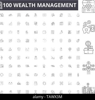 Wealth management line icons, signs, vector set, outline illustration concept  - Stock Image