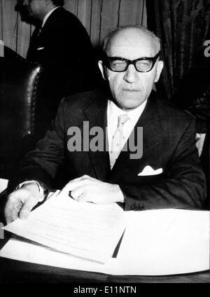 Apr 11, 1979; Rome, Italy; Portrait of the governor of the Bank of Italy, the greatest italian financial institut, PAOLO BAFFI. - Stock Image