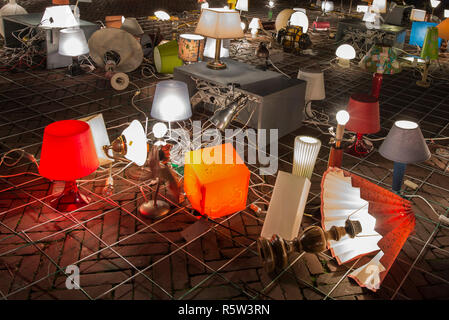 Artwork We Light Amsterdam with lamps during Amsterdam Light Festival. - Stock Image