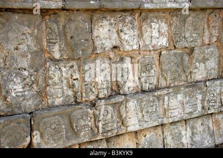 Detail from the Tzompantli Platform of the Skulls, Chichen Itza Archeological Site, Yucatan Peninsular, Mexico - Stock Image