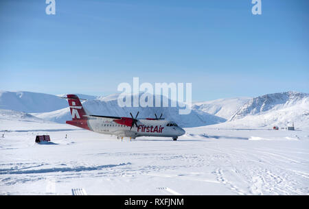 First air plane just landed at Qikitarjuaq airport - Stock Image
