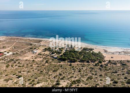 Skywalk, Santa Pola, Alicante Province, Spain. Stunning views over the beach and sea towards Tabarca Island. - Stock Image