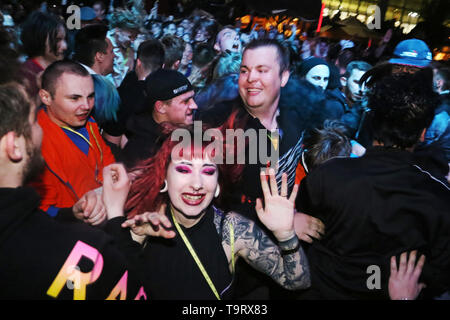 Evening party on 19th edition of the Pyrkon Fantasy Festival, which took place on April 26-28, 2019 at the International Poznan Market. Photo: CTK/Grz - Stock Image