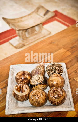 Tray of decorative balls on a table - Stock Image