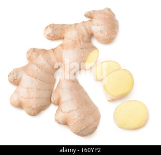 Isolated ginger. Cut ginger root, top view, isolated on white background with clipping path - Stock Image