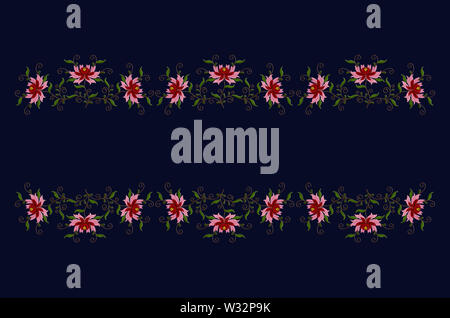 Border of embroidered stylized flowers with red and pink petals on twisted branches with leaves on a dark blue background - Stock Image