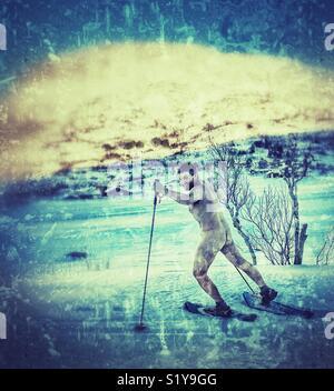 Naked snowshoeing. - Stock Image
