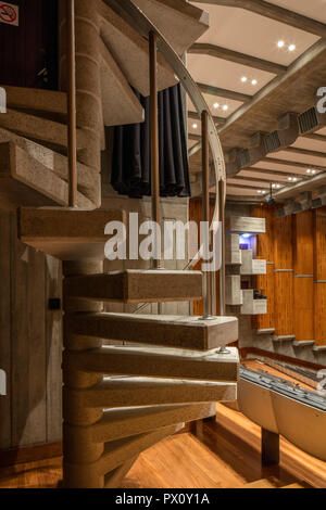 Winding staircase in the restored Purcell Room at the Queen Elizabeth Hall, Southbank Centre, London, UK. - Stock Image