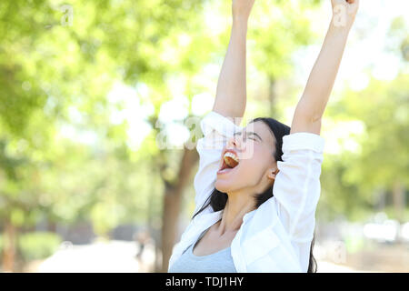 Excited woman celebrating success standing in a park raising arms - Stock Image