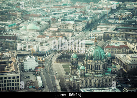 Panorama of Berlin downtown; Picturesque view on Berlin city from television tower; Retro filter - Stock Image
