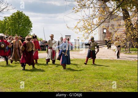 Swedish assault improvisation in Janowiec Castle, event of the historical battle reenactment at Majowka z Kmicicem - Stock Image
