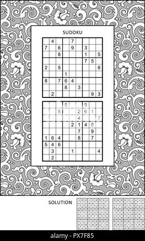 Puzzle and coloring activity page with two sudoku puzzles of comfortable level and wide decorative frame to color. Answer included. - Stock Image
