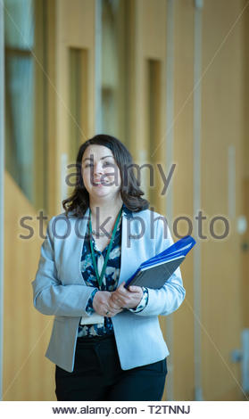 Edinburgh, UK. 4th April, 2019.  Monica Lennon arriving for First Ministers Questions in the Scottish Parliament. Credit: Roger Gaisford/Alamy Live News - Stock Image