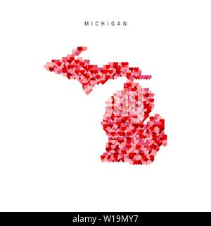 I Love Michigan. Red and Pink Hearts Pattern Vector Map of Michigan Isolated on White Background. - Stock Image