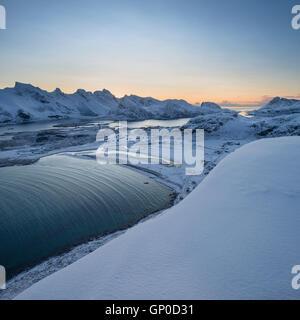 Winter view over Ytresand beach, Moskenesøy, Lofoten Islands, Norway - Stock Image