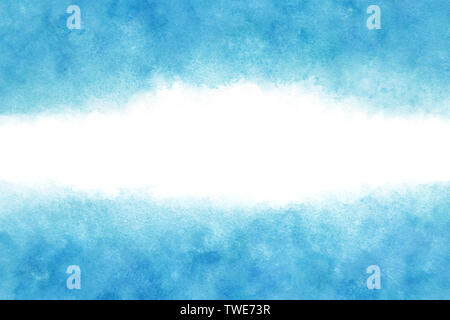 Pastel color blue sky abstract or natural watercolor paint background - Stock Image