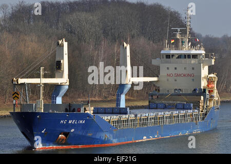 General cargo vessel HC Melina westbound in the Kiel-Canal - Stock Image