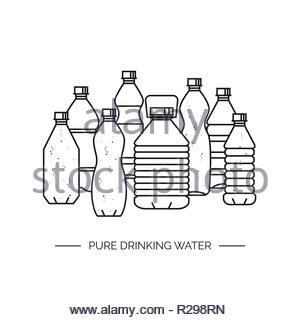 Pure drinking water. Line vector illustration of a group of plastic bottles isolated on white background. Black and white version. - Stock Image