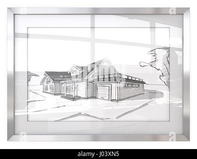 Picture Frame with Architectural house sketches.Generic building. Reflective Glass with Cityscape view. 3D render. - Stock Image